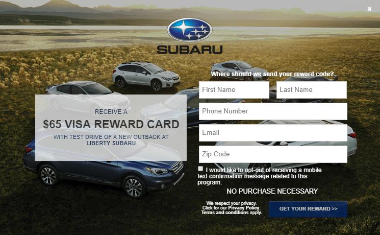 Subaru Outback Test Drive Bonus, Get $65 Visa Gift Card