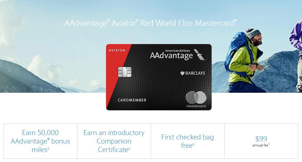 Barclays AAdvantage Aviator Red Mastercard, 50K Bonus Plus Companion Certificate