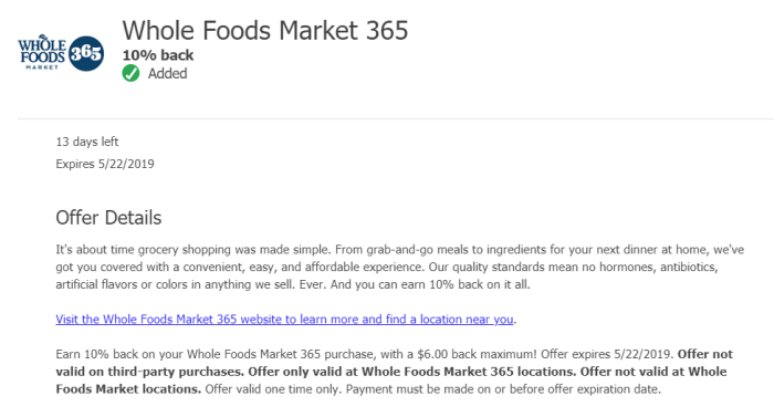 Whole Foods Market 365 chase offer