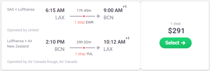 la to Barcelona flights