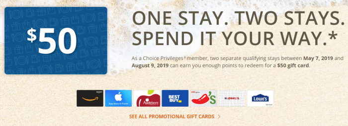 $50 Gift Card at Choice Hotels