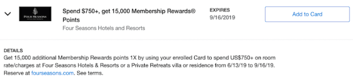 Four Season Amex Offer