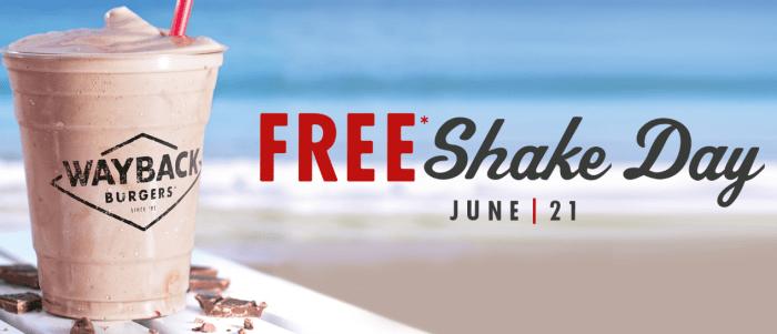 Free Milkshake Today at Wayback Burgers