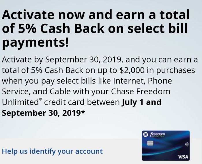 Chase, Earn 5% Back on Select Bill Payments (Targeted) - Danny the