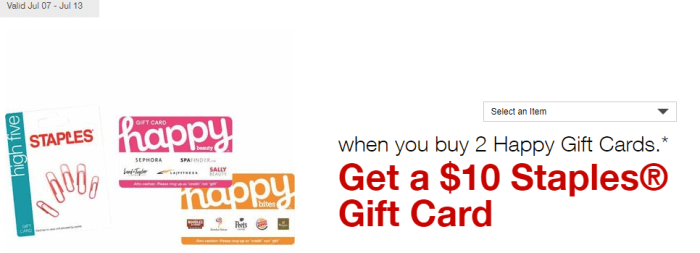 staples happy gift card deal