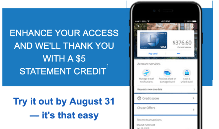 $5 Bonus for Downloading Chase App