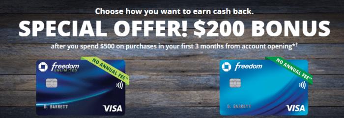 Chase Freedom Cards $200 Bonus