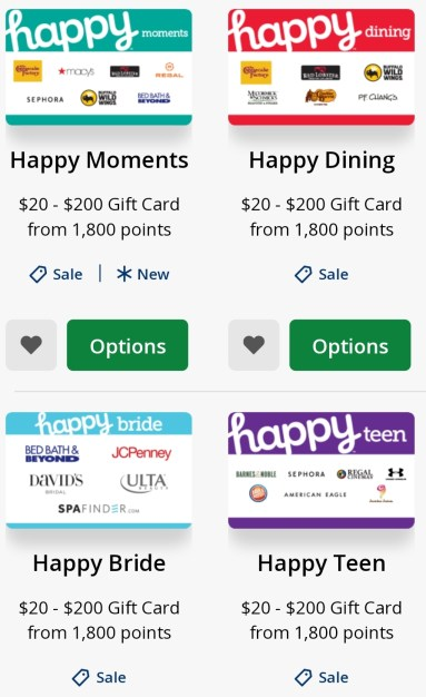 Redeem Chase Ultimate Rewards for Happy Gift Cards