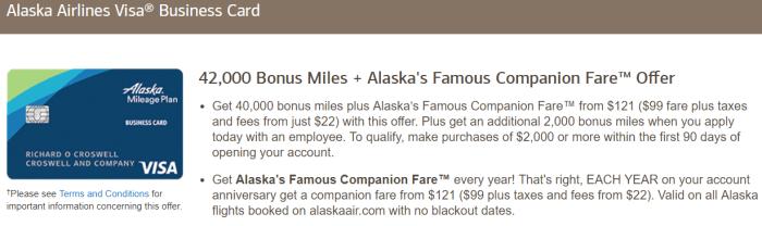Alaska Airlines Business Card Bonus