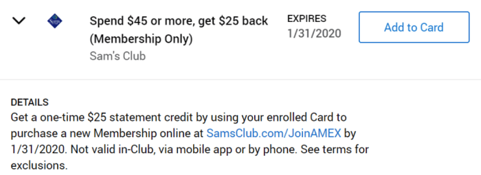 Sam's Club Amex Offer
