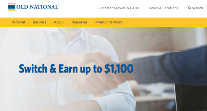 Old National Bank business checking bonus
