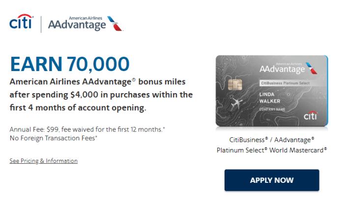 CitiBusiness AAdvantage 70K Bonus