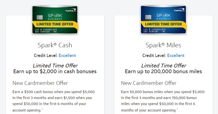 Capital One Spark cards bonuses