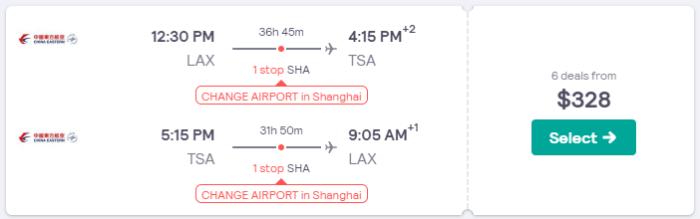 taiwan airfare deal