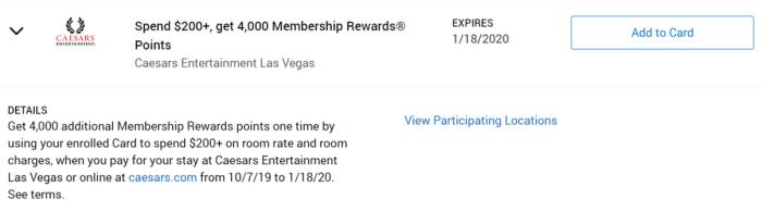 Caesars Las Vegas Amex Offer