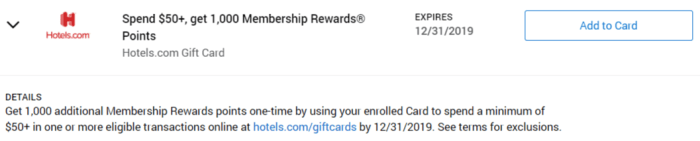Hotels.com Gift Cards amex offer