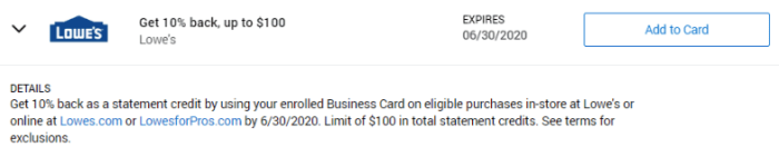 Lowe's Amex Offer