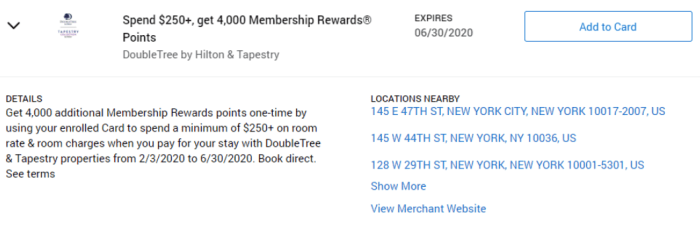 DoubleTree by Hilton & Tapestry Amex Offer