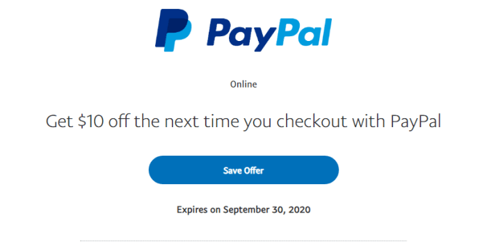paypal $10 offer