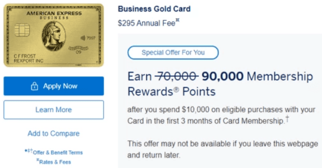 amex business gold 90K offer