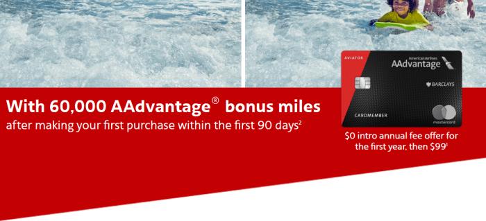 Barclays Aviator Red 60K Bonus no fee