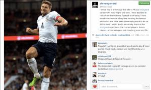 Steven Gerrard Instagram announcement