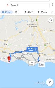 Map of route from Albufeira to Benagil