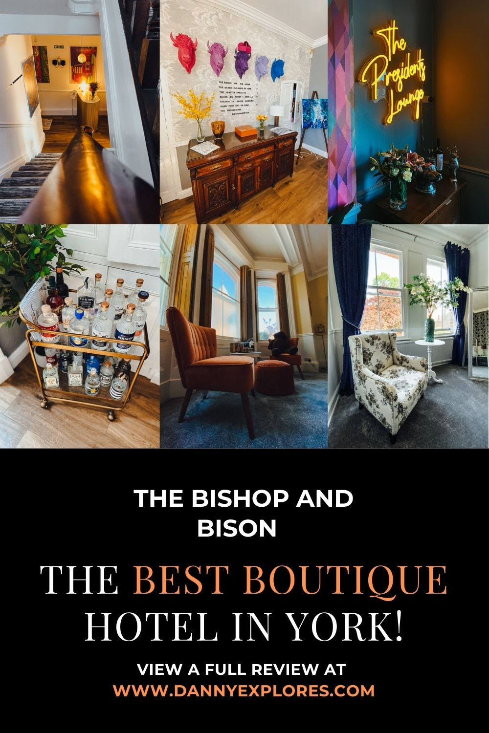 Pintrest sharing image for B&B showcasing areas of the hotel