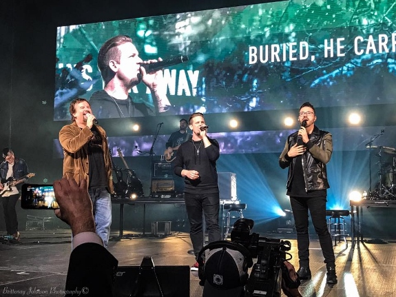 Danny Gokey performs with Mark Hall and Chad Mattson