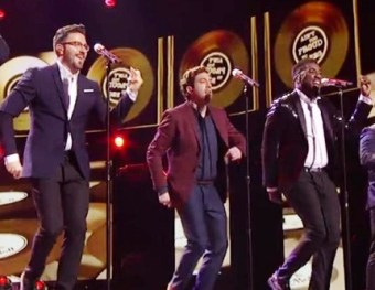 Danny Gokey with Elliott Yamin and George Huff on the American Idol Last Finale 2016