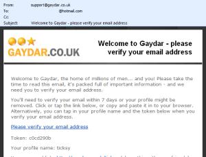 Signing up to Gaydar
