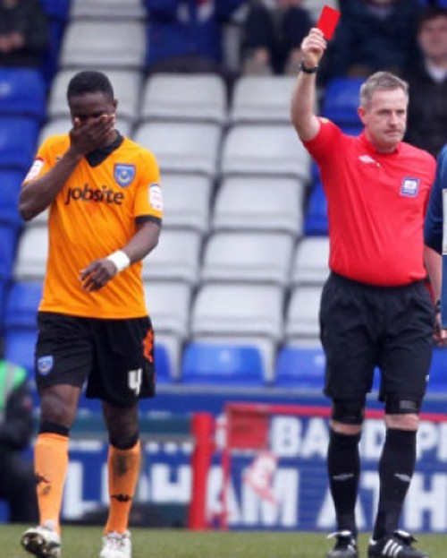 A red card for Sam Sodje - One of the footballers taking bribes, apparently - Taken from an article by DannyUK.com