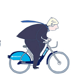 Boris Johnson cartoon on a Boris Bike