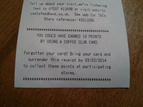 How to get free Costa points - Taken from an article by DannyUK.com