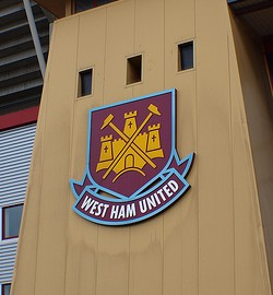 West Ham badge and turret. Photo taken by toastbrot81 on Flickr and amended by DannyUK.