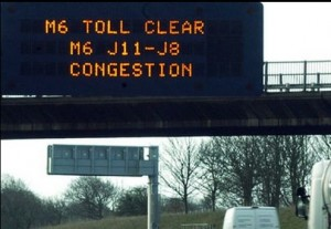 M6 toll clear road sign