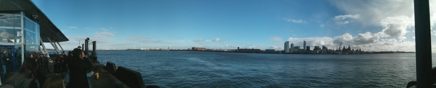 A panorama over the Mersey, taken from the Wirral. Taken from the article: A trip on Mersey Ferries by DannyUK.com