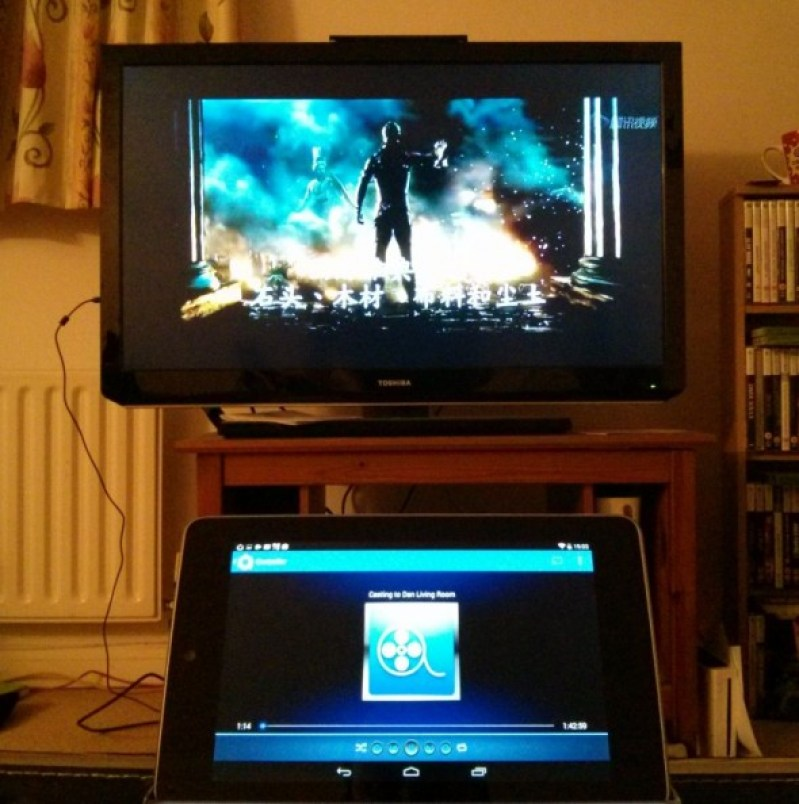 The final result - Avia on the tablet streaming Show Box via Google ChromeCast to the tv. Taken from the Google Chromecast review by DannyUK.com