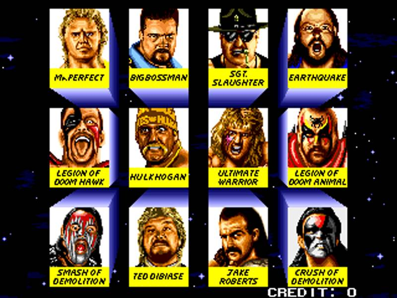 The characters from the WWE Wrestlefest game at the start of the 1990s. Shockingly, six of these are now dead - Mr Perfect, Big Bossman, Earthquake, Hawk, Ultimate Warrior and Crush.