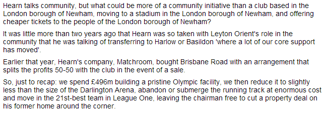 Martin Samuel comments on Leyton Orient - and Barry Hearn - in the Daily Mail