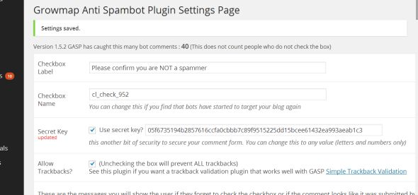 Wordpress Plug in - Growmap Anti Spambot Plugin - GASP - Screenshot