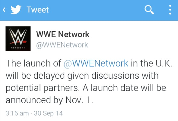 WWE Network UK launch announcement for November