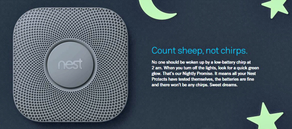 The Nest Protect Smoke & Carbon Monoxide detector nightly promise - Taken from a review by DannyUK.com
