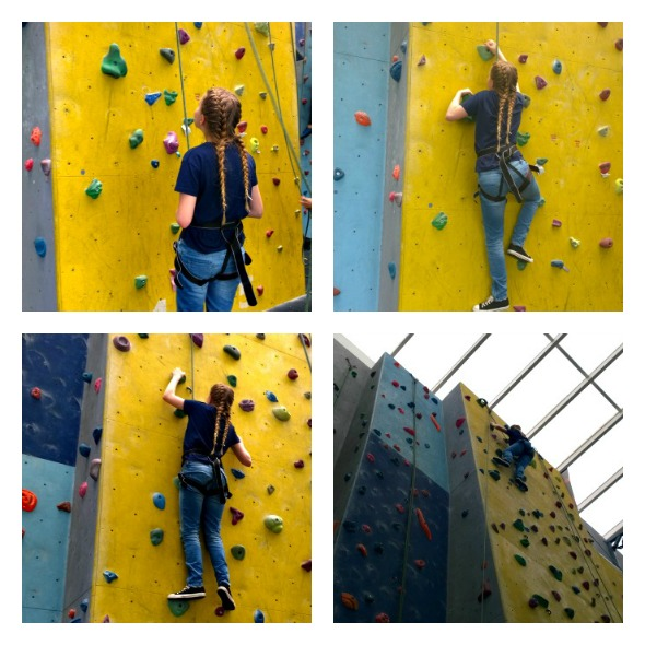 Eldest climbs the wall at High Sports Basildon