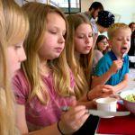 Four kids, one salad – square