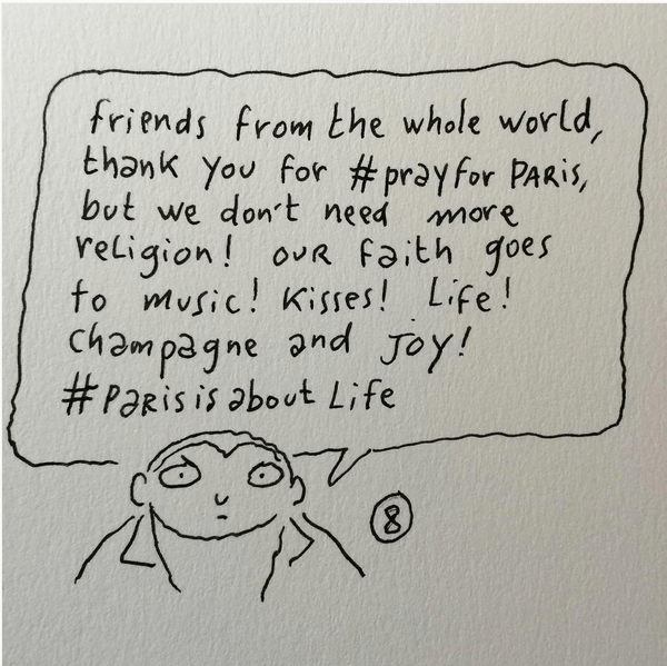 Pray for Paris - Charlie Hebdo artist, Joann Sfar - Taken from an article by DannyUK.com