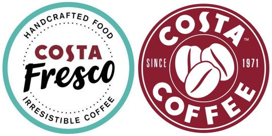Costa Fresco logo and Costa Coffee logo