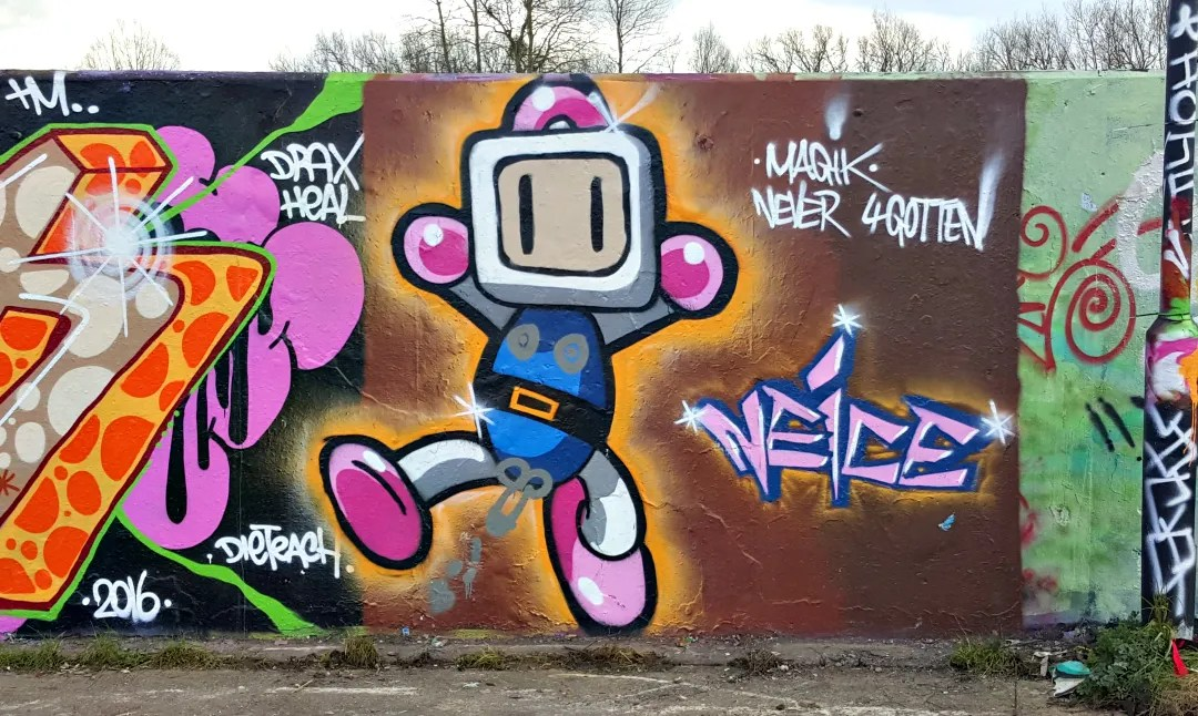 My Sunday Photo - Wharf Road, Chelmsford - Super Bomberman urban art graffiti on Chelmer Waterside