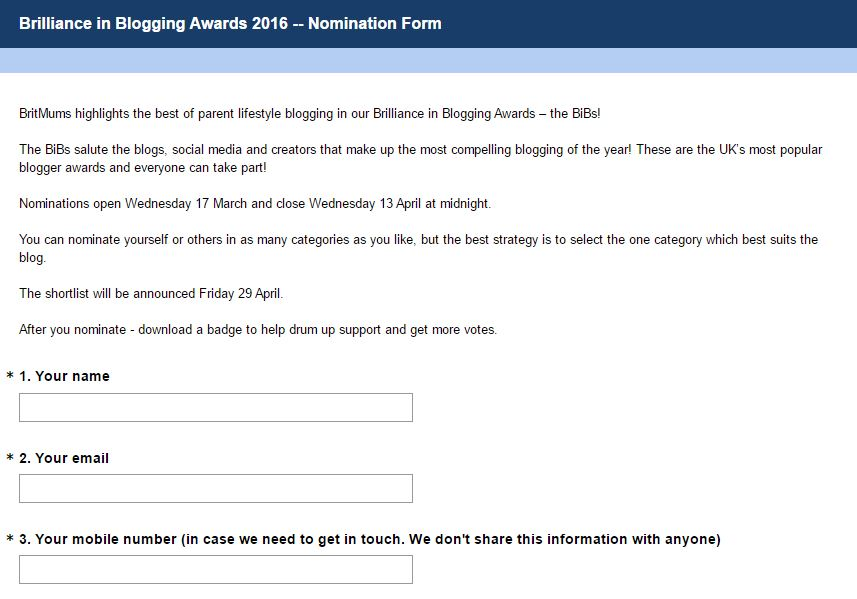 BiBs awards nominations 2016 - Please vote for me in BiBs 2016