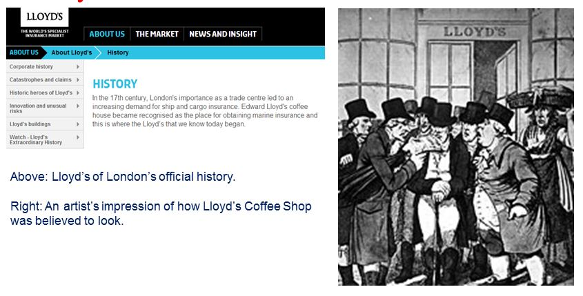 Lloyd's Coffee Shop / Lloyds of London - Coffee history in the UK